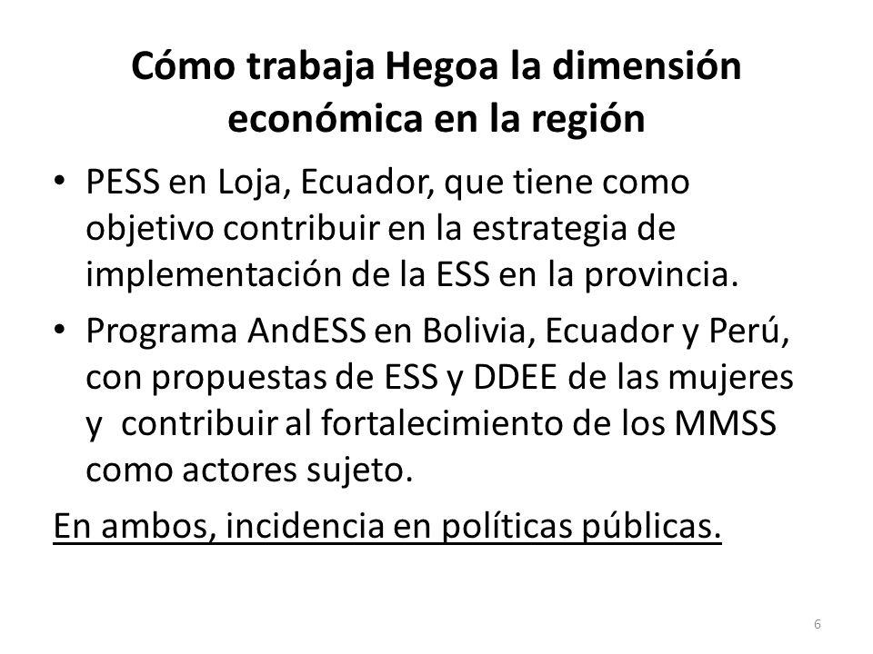 Cómo trabaja Hegoa la dimensión económica en la región