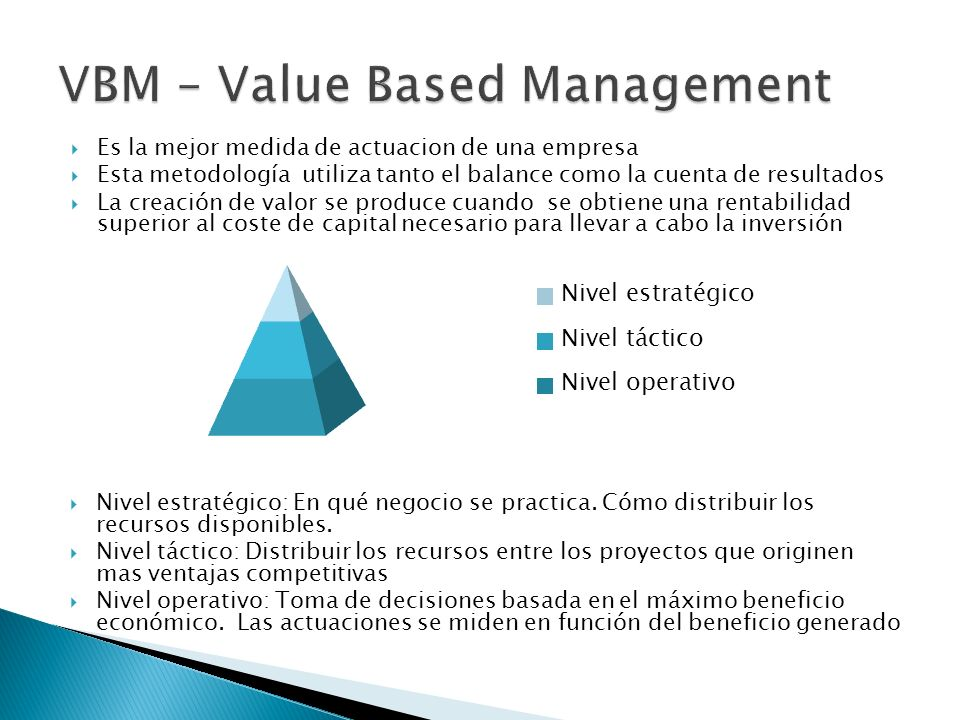 value based management vbm For many companies, value-based management has brought only mediocre results but for a select few, it's led to sustained increases in profits and stock prices.