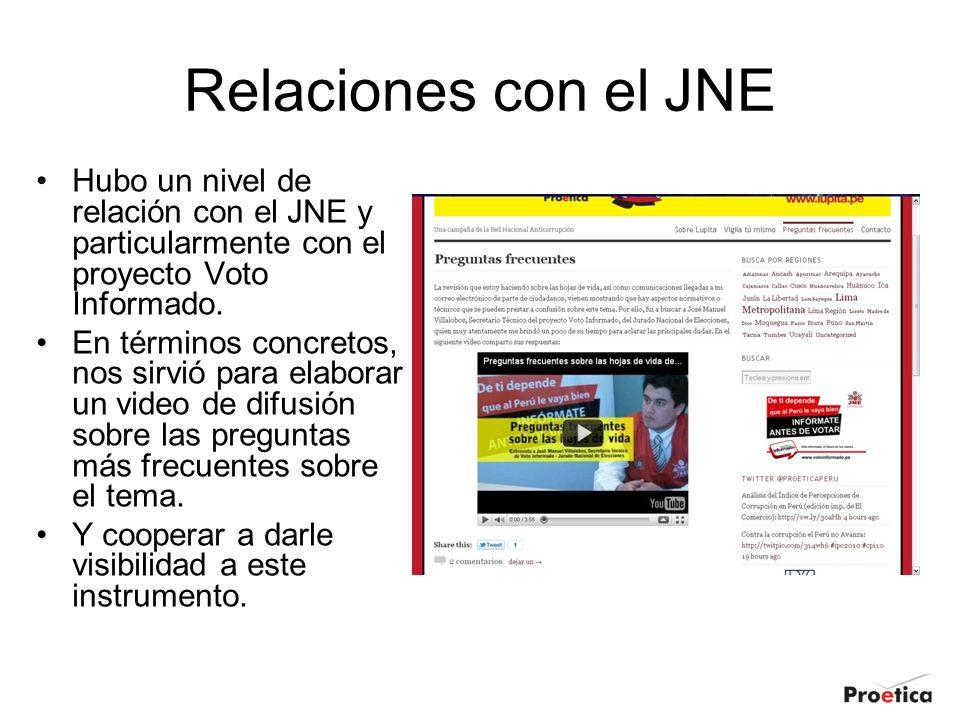 Relaciones con el JNE Hubo un nivel de relación con el JNE y particularmente con el proyecto Voto Informado.