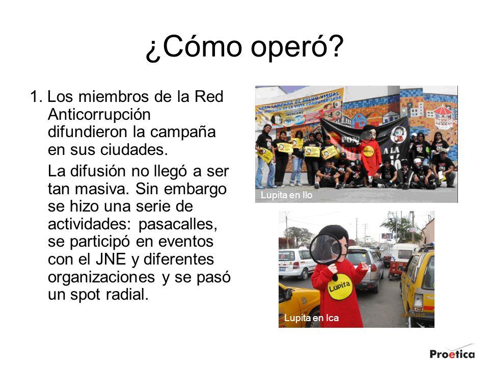 ¿Cómo operó 1. Los miembros de la Red Anticorrupción difundieron la campaña en sus ciudades.