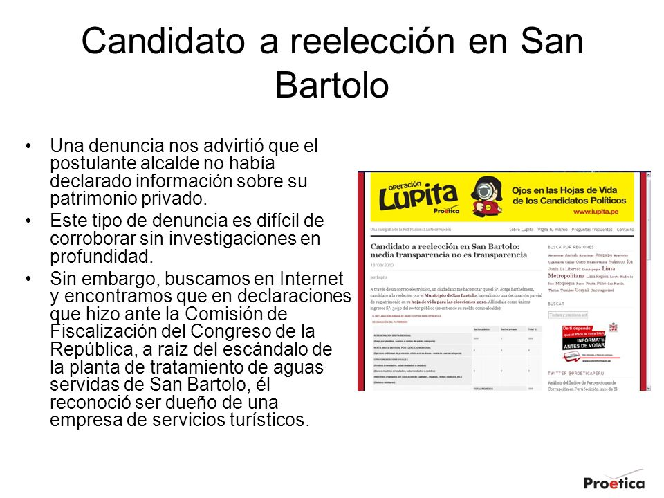 Candidato a reelección en San Bartolo