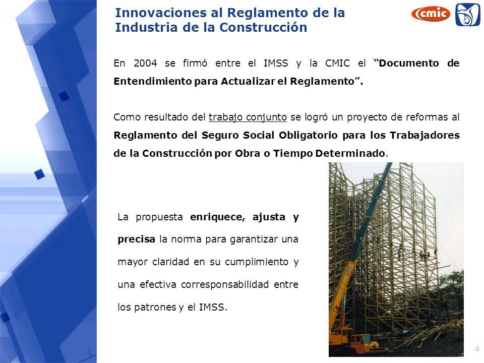 Innovaciones al Reglamento de la Industria de la Construcción