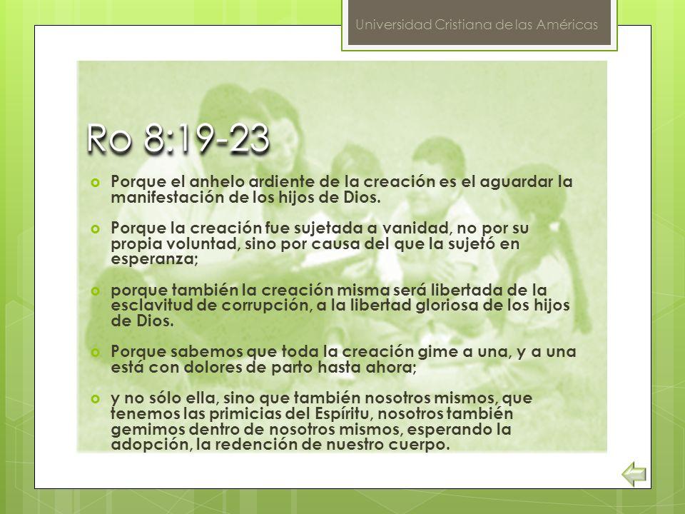 Ro 8:19-23 Porque el anhelo ardiente de la creación es el aguardar la manifestación de los hijos de Dios.