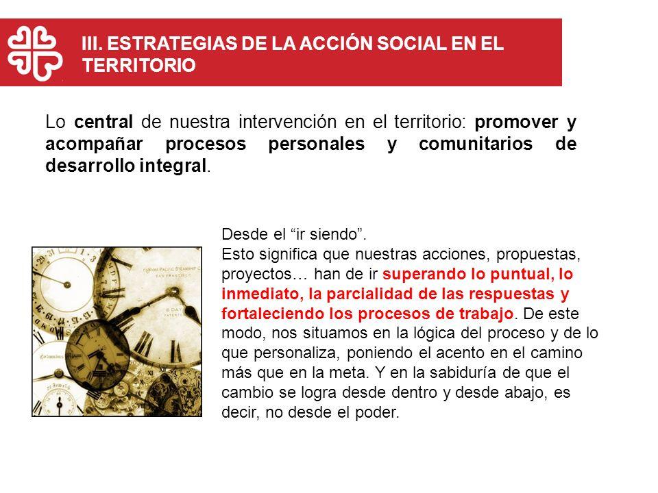 III. ESTRATEGIAS DE LA ACCIÓN SOCIAL EN EL TERRITORIO