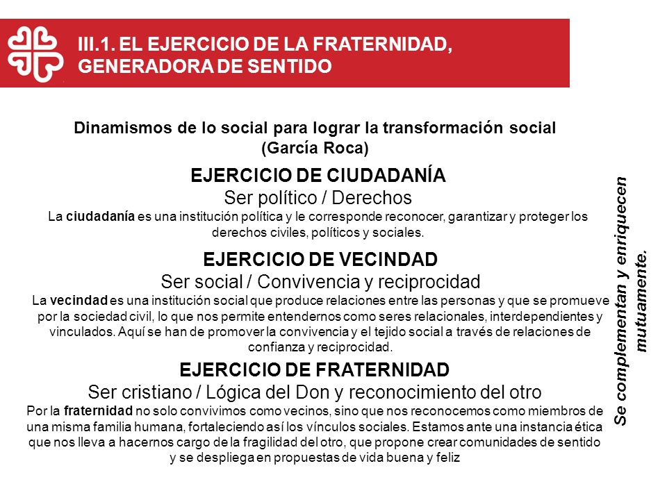 EJERCICIO DE CIUDADANÍA EJERCICIO DE VECINDAD EJERCICIO DE FRATERNIDAD