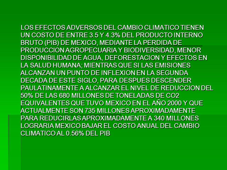 LOS EFECTOS ADVERSOS DEL CAMBIO CLIMATICO TIENEN UN COSTO DE ENTRE 3