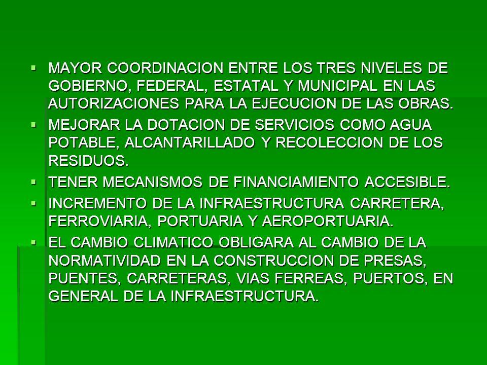 MAYOR COORDINACION ENTRE LOS TRES NIVELES DE GOBIERNO, FEDERAL, ESTATAL Y MUNICIPAL EN LAS AUTORIZACIONES PARA LA EJECUCION DE LAS OBRAS.