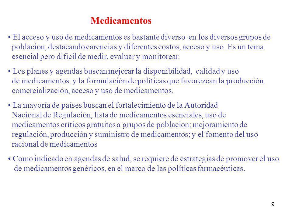 Medicamentos El acceso y uso de medicamentos es bastante diverso en los diversos grupos de.