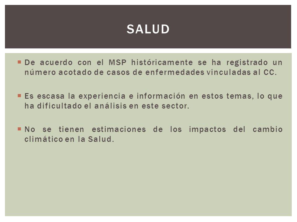 SALUD De acuerdo con el MSP históricamente se ha registrado un número acotado de casos de enfermedades vinculadas al CC.