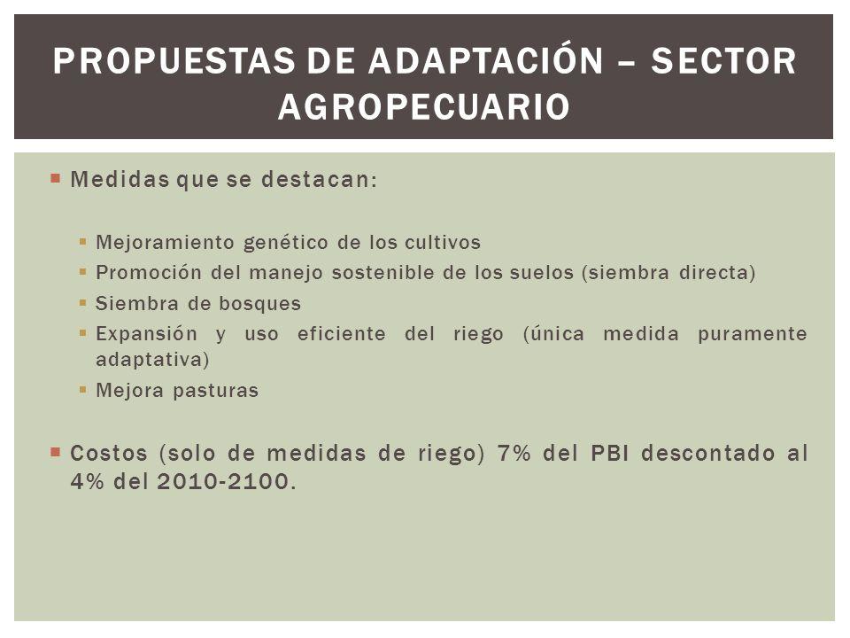 Propuestas de adaptación – sector agropecuario