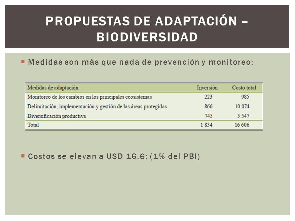 Propuestas de adaptación – biodiversidad