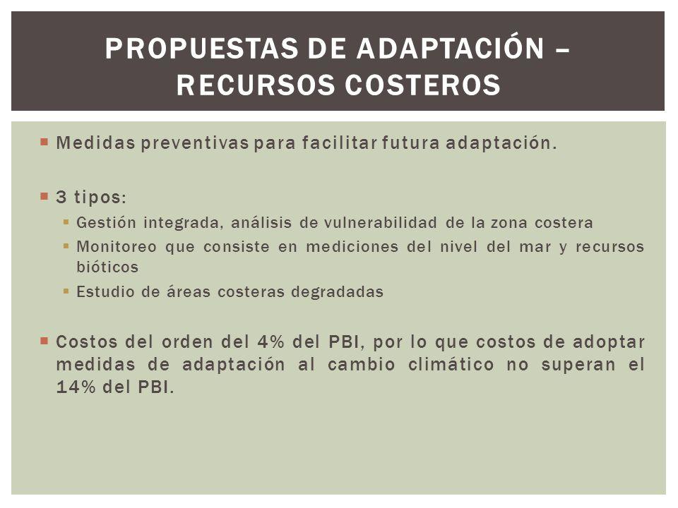 Propuestas de adaptación – Recursos costeros
