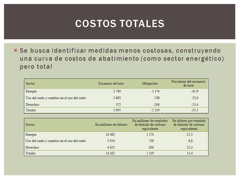 Costos totales Se busca identificar medidas menos costosas, construyendo una curva de costos de abatimiento (como sector energético) pero total.