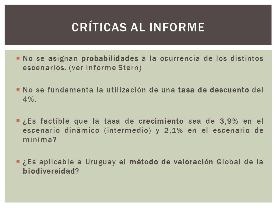 CRÍTICAS AL INFORME No se asignan probabilidades a la ocurrencia de los distintos escenarios. (ver informe Stern)