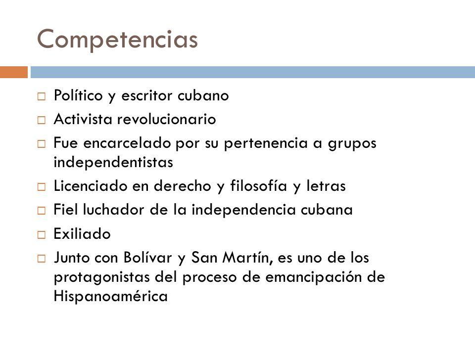 Competencias Político y escritor cubano Activista revolucionario