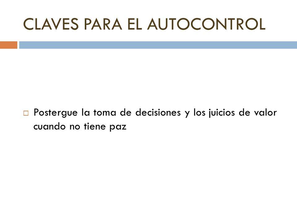 CLAVES PARA EL AUTOCONTROL
