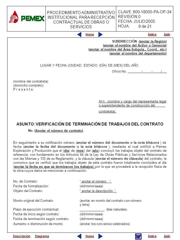 ASUNTO: VERIFICACIÓN DE TERMINACIÓN DE TRABAJOS DEL CONTRATO