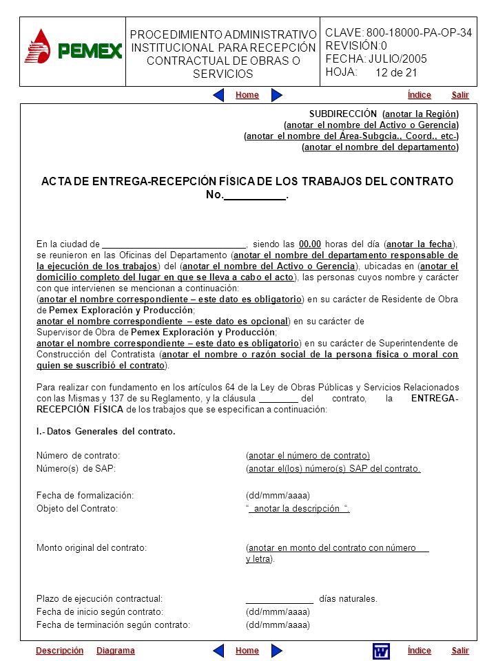 ACTA DE ENTREGA-RECEPCIÓN FÍSICA DE LOS TRABAJOS DEL CONTRATO