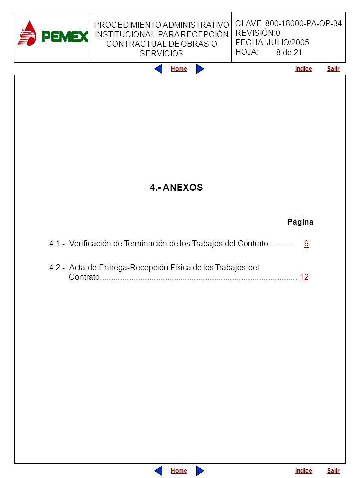 8 de 21 4.- ANEXOS. Página. 4.1.- Verificación de Terminación de los Trabajos del Contrato............ 9.