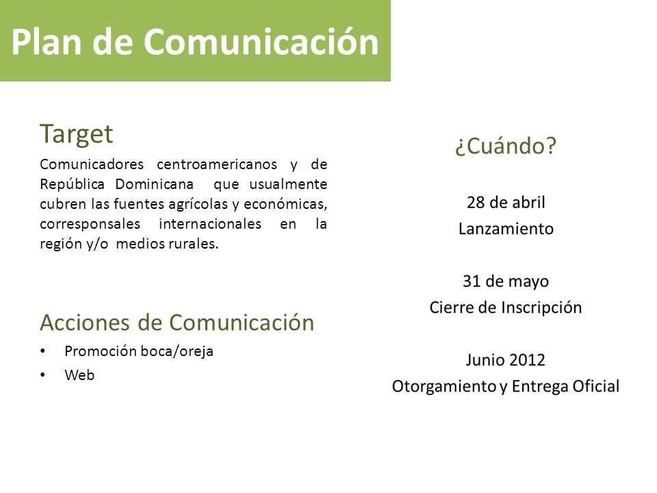 Plan de Comunicación Target Acciones de Comunicación