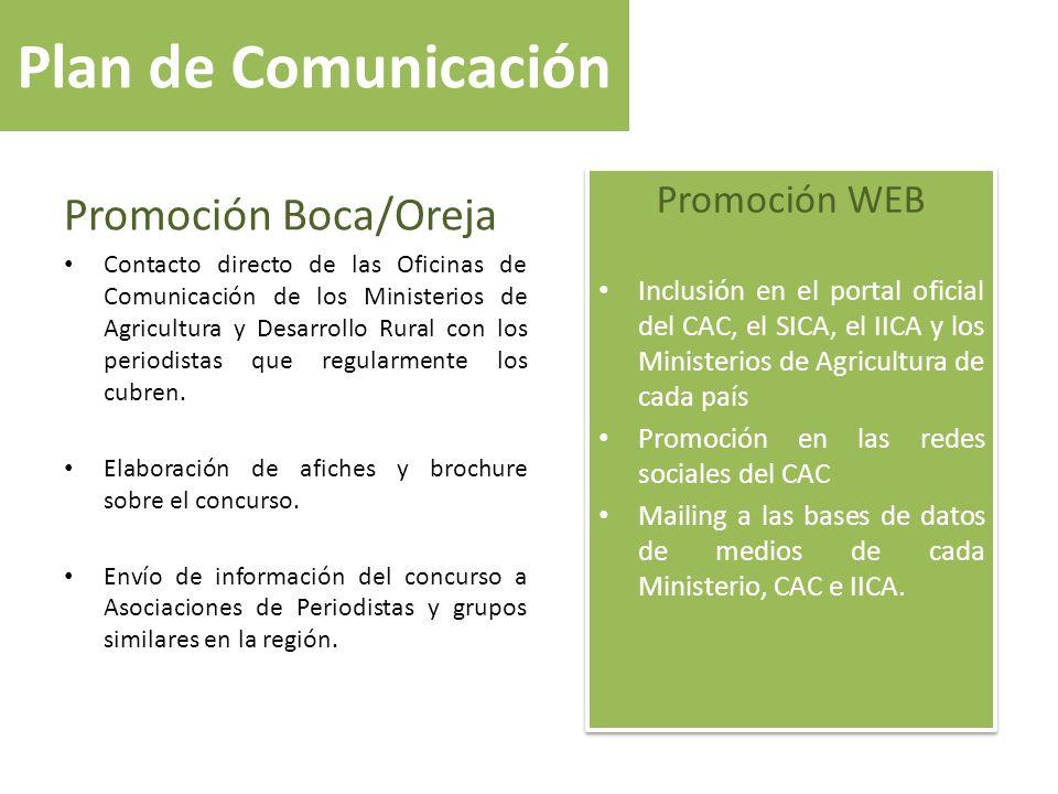 Plan de Comunicación Promoción Boca/Oreja Promoción WEB