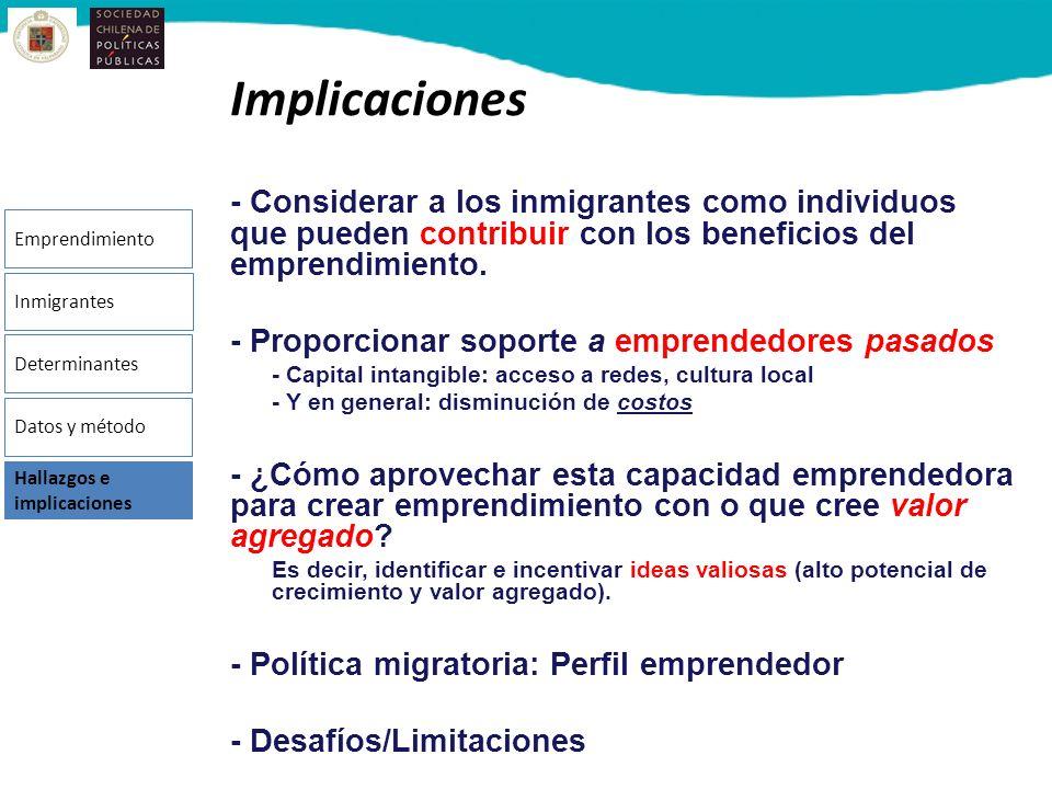 Implicaciones - Considerar a los inmigrantes como individuos que pueden contribuir con los beneficios del emprendimiento.