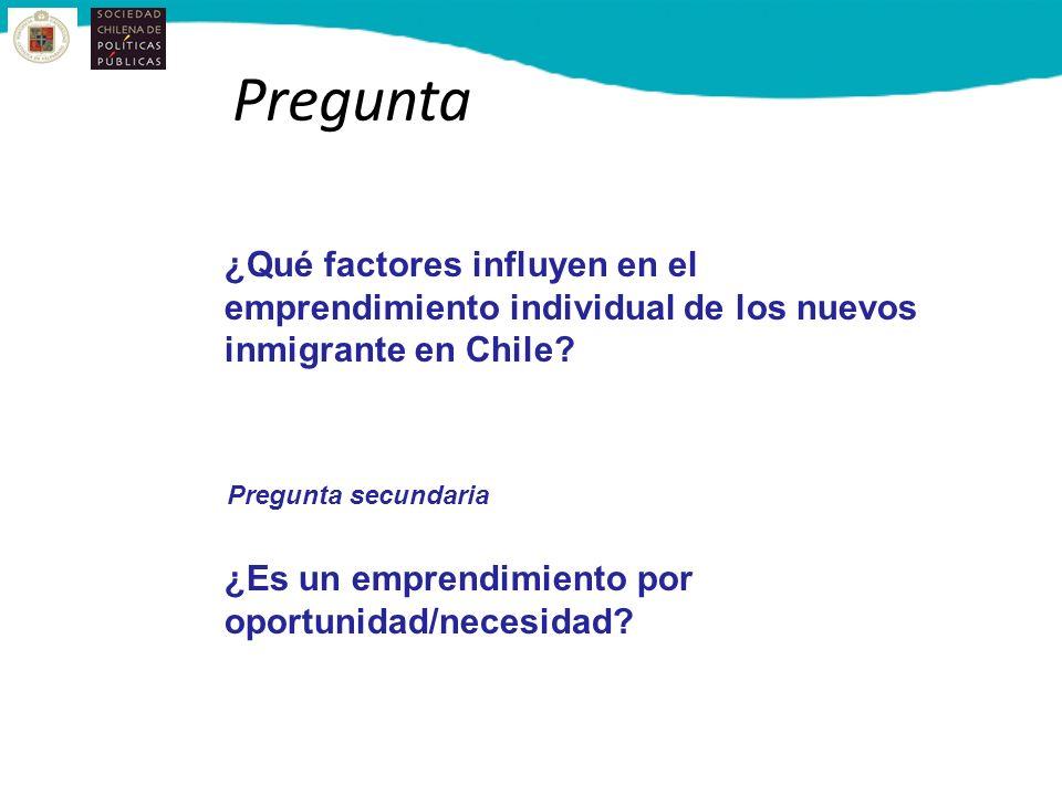 Pregunta ¿Qué factores influyen en el emprendimiento individual de los nuevos inmigrante en Chile Pregunta secundaria.