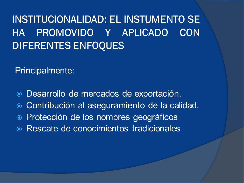 INSTITUCIONALIDAD: EL INSTUMENTO SE HA PROMOVIDO Y APLICADO CON DIFERENTES ENFOQUES
