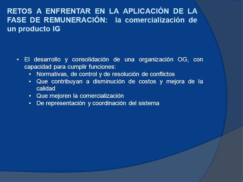 RETOS A ENFRENTAR EN LA APLICACIÓN DE LA FASE DE REMUNERACIÓN: la comercialización de un producto IG