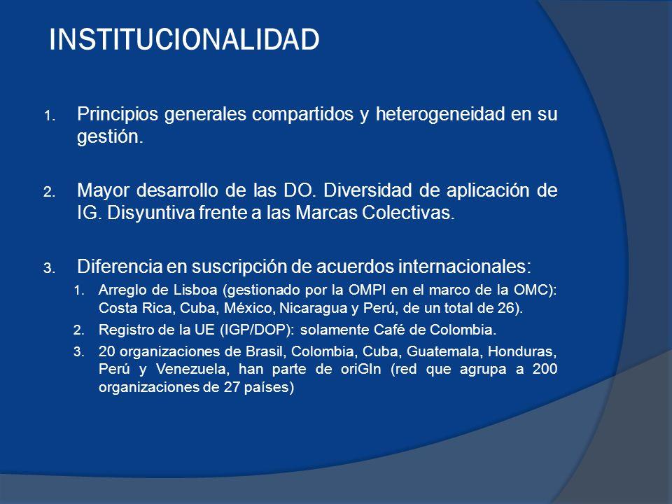 INSTITUCIONALIDAD Principios generales compartidos y heterogeneidad en su gestión.