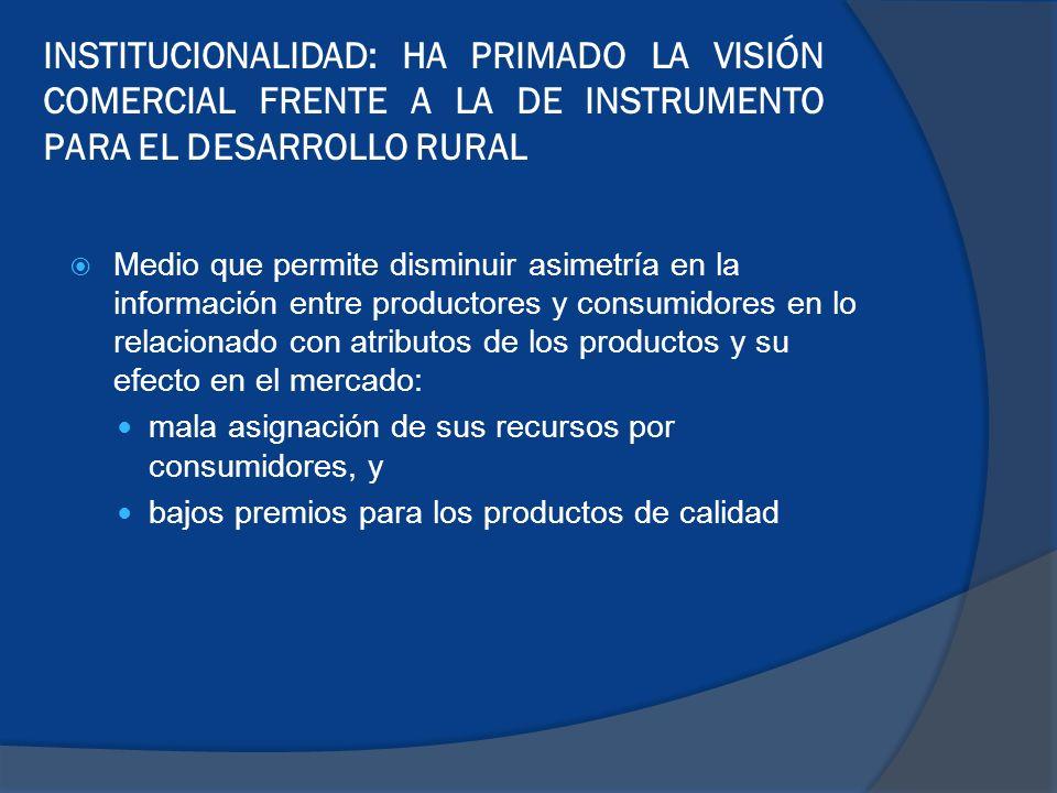 INSTITUCIONALIDAD: HA PRIMADO LA VISIÓN COMERCIAL FRENTE A LA DE INSTRUMENTO PARA EL DESARROLLO RURAL