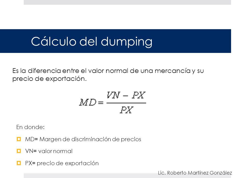 Cálculo del dumping Es la diferencia entre el valor normal de una mercancía y su precio de exportación.