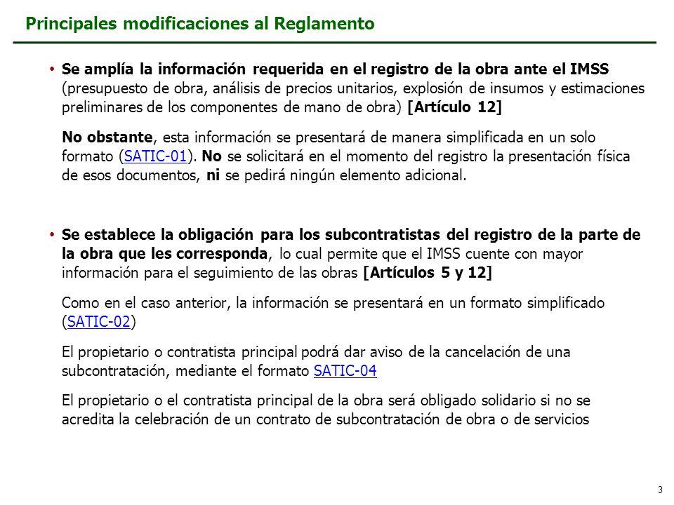 Principales modificaciones al Reglamento