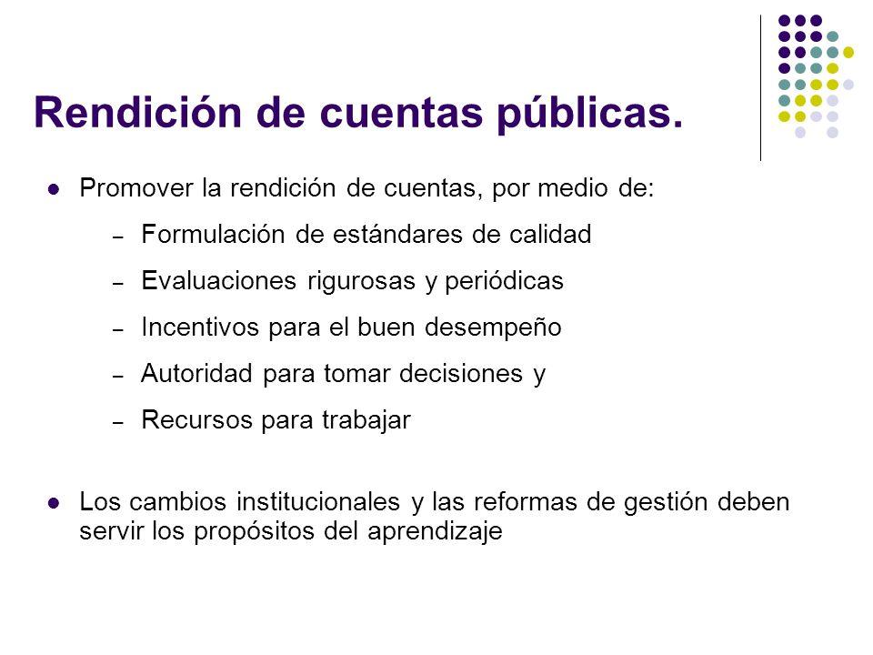 Rendición de cuentas públicas.