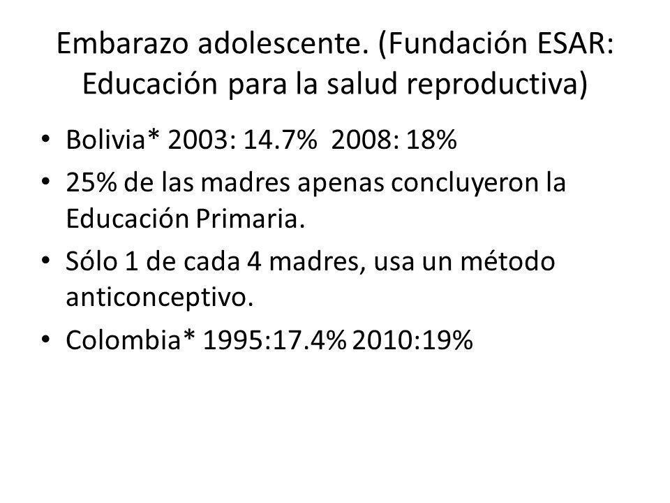Embarazo adolescente. (Fundación ESAR: Educación para la salud reproductiva)