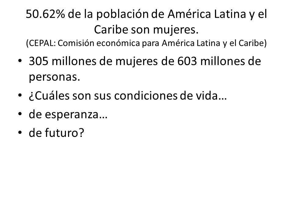 50. 62% de la población de América Latina y el Caribe son mujeres