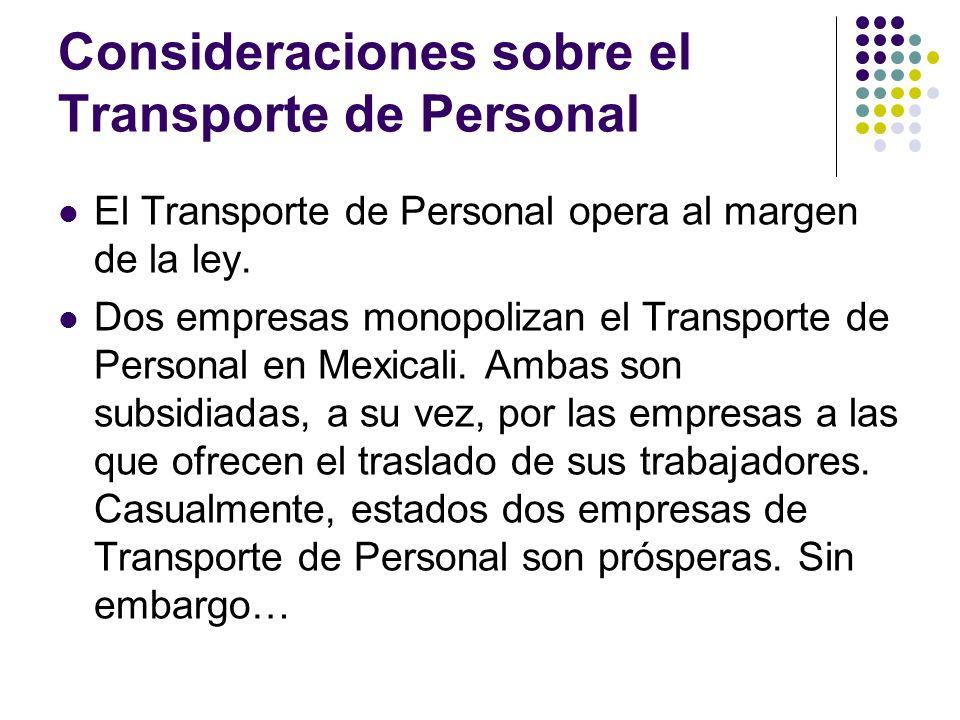 Consideraciones sobre el Transporte de Personal