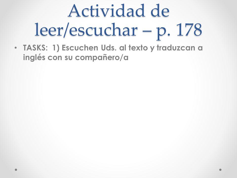 Actividad de leer/escuchar – p. 178