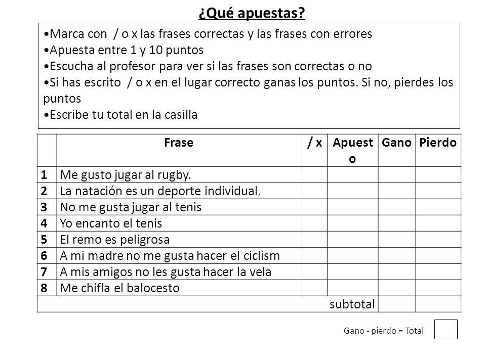 ¿Qué apuestas Marca con / o x las frases correctas y las frases con errores. Apuesta entre 1 y 10 puntos.