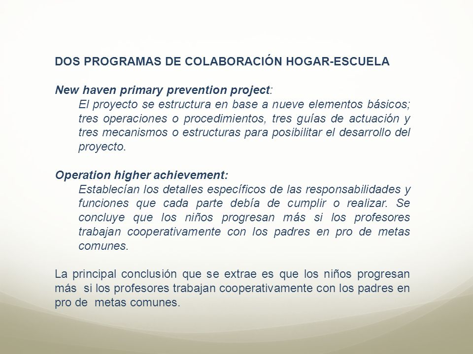 DOS PROGRAMAS DE COLABORACIÓN HOGAR-ESCUELA