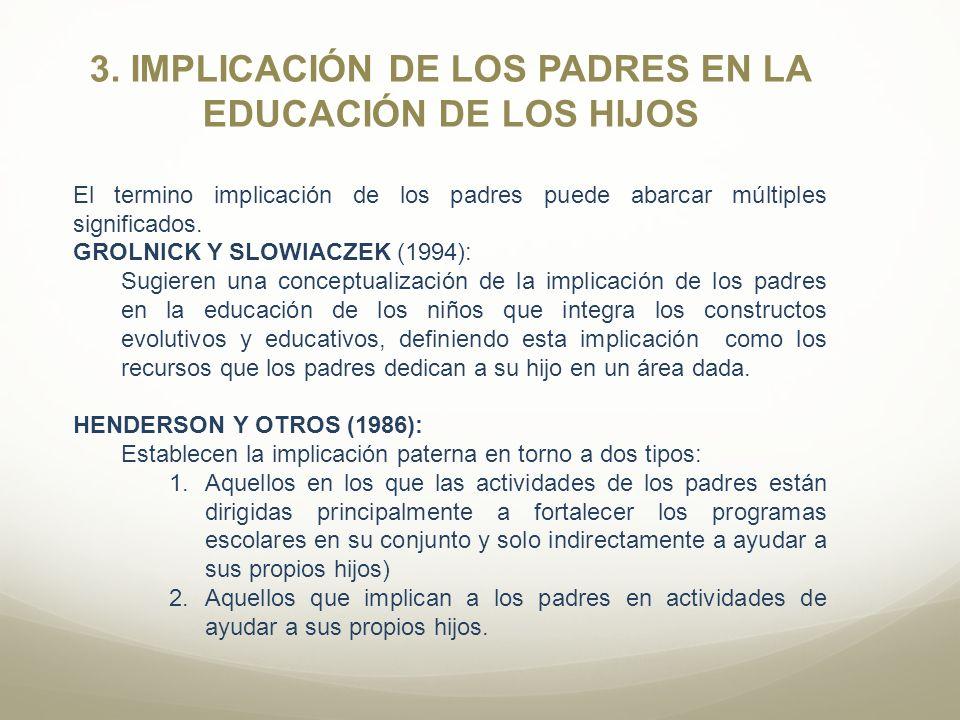 3. IMPLICACIÓN DE LOS PADRES EN LA EDUCACIÓN DE LOS HIJOS