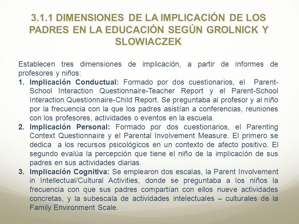 3.1.1 DIMENSIONES DE LA IMPLICACIÓN DE LOS PADRES EN LA EDUCACIÓN SEGÚN GROLNICK Y SLOWIACZEK