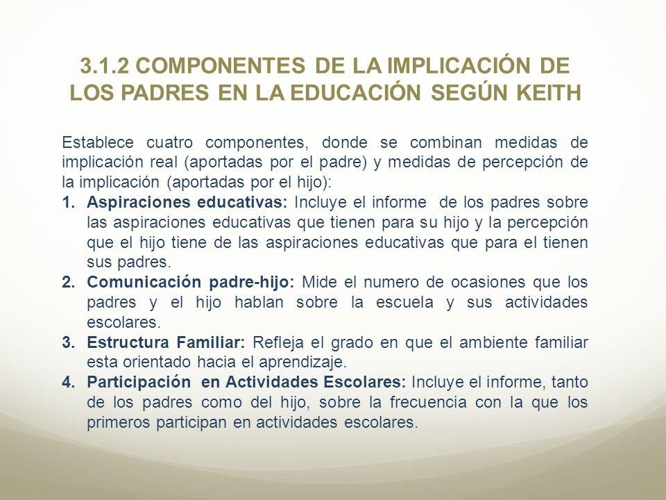 3.1.2 COMPONENTES DE LA IMPLICACIÓN DE LOS PADRES EN LA EDUCACIÓN SEGÚN KEITH