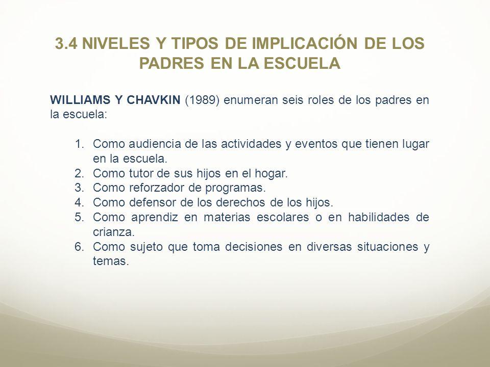 3.4 NIVELES Y TIPOS DE IMPLICACIÓN DE LOS PADRES EN LA ESCUELA