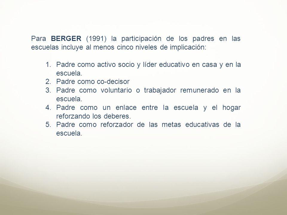 Para BERGER (1991) la participación de los padres en las escuelas incluye al menos cinco niveles de implicación: