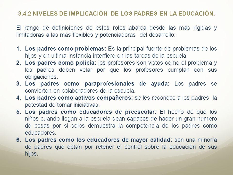 3.4.2 NIVELES DE IMPLICACIÓN DE LOS PADRES EN LA EDUCACIÓN.