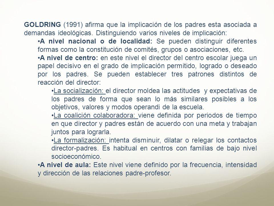 GOLDRING (1991) afirma que la implicación de los padres esta asociada a demandas ideológicas. Distinguiendo varios niveles de implicación:
