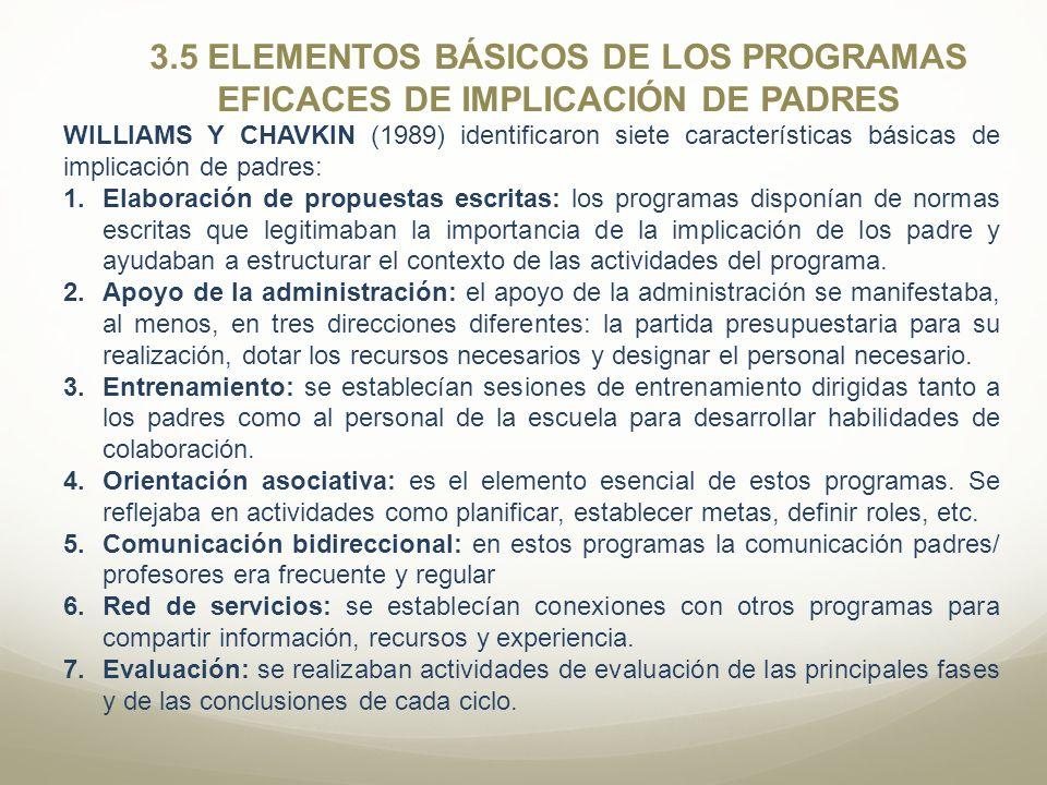 3.5 ELEMENTOS BÁSICOS DE LOS PROGRAMAS EFICACES DE IMPLICACIÓN DE PADRES