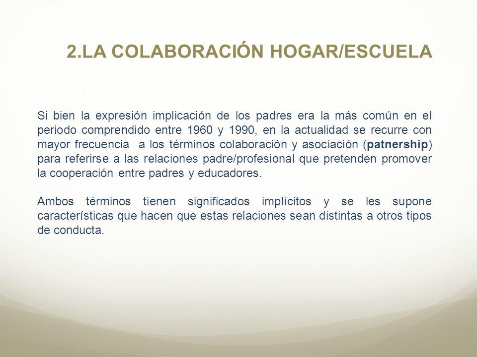 2.LA COLABORACIÓN HOGAR/ESCUELA