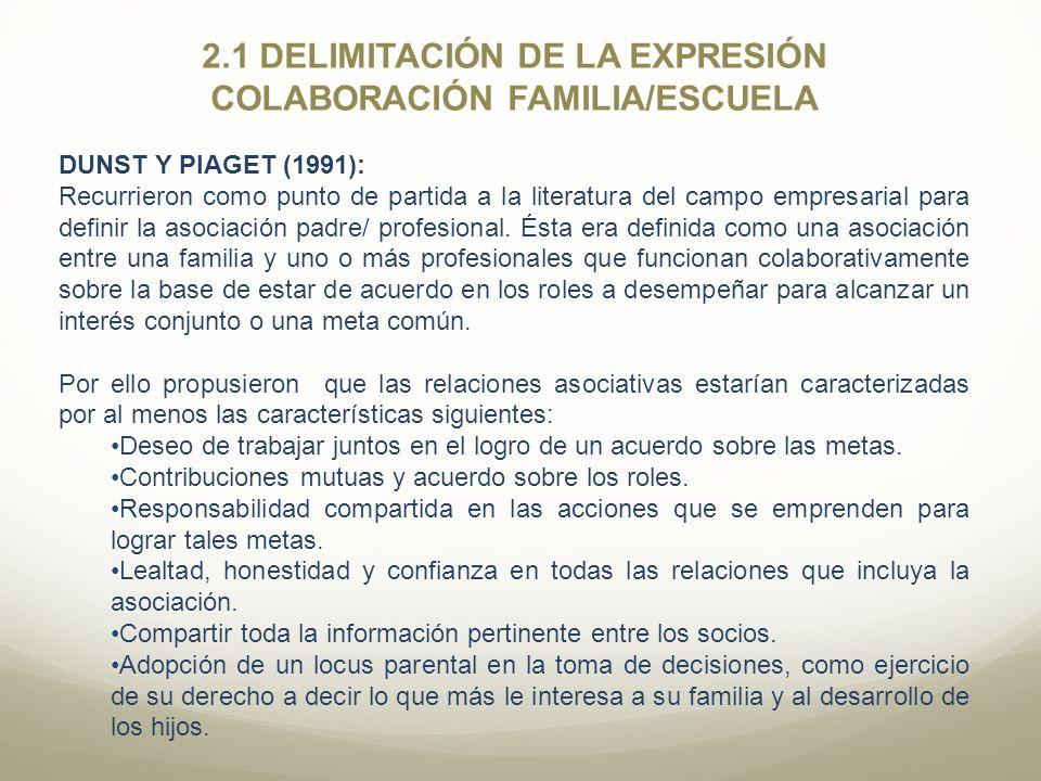2.1 DELIMITACIÓN DE LA EXPRESIÓN COLABORACIÓN FAMILIA/ESCUELA